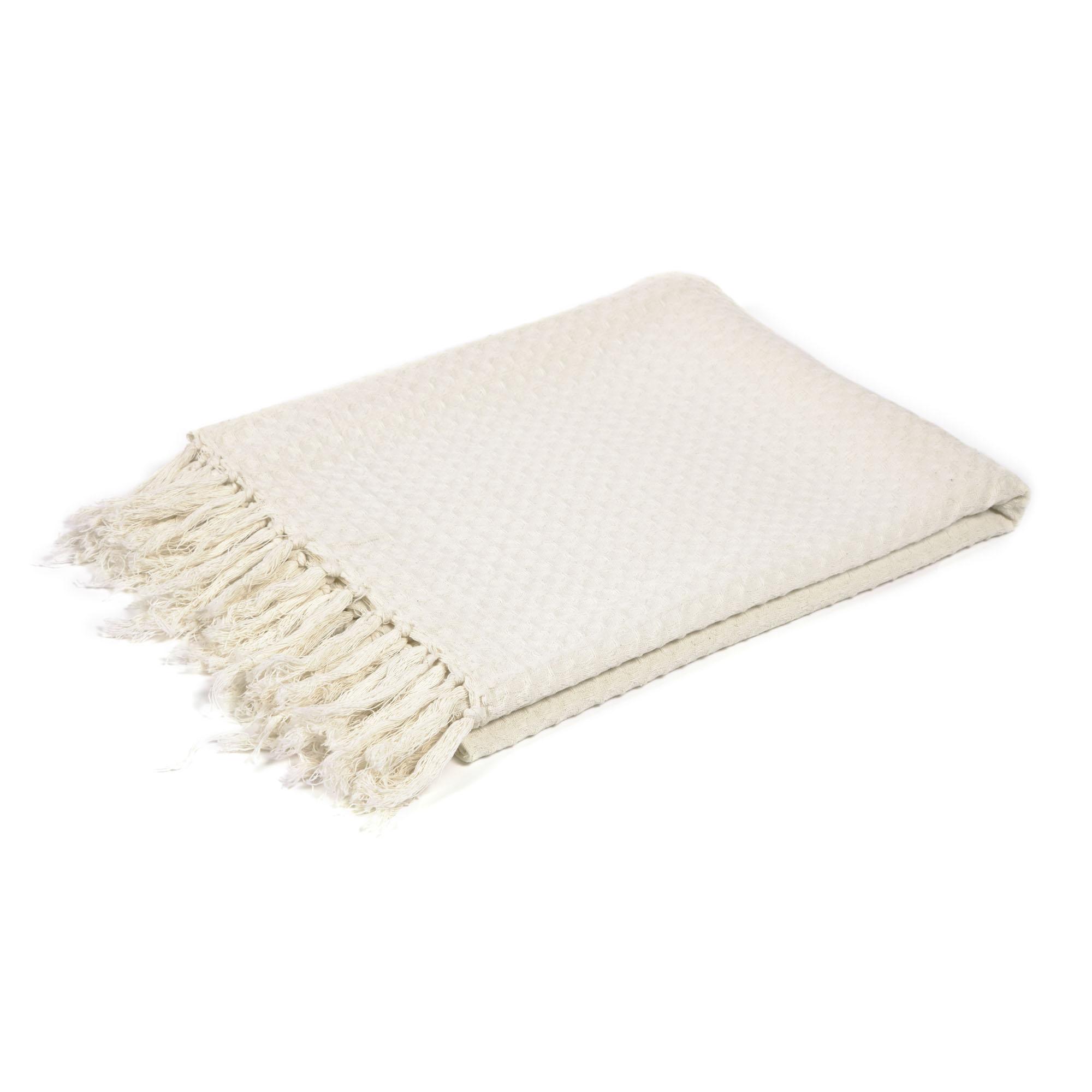 Kave home - plaid shallow 100% coton blanc de...