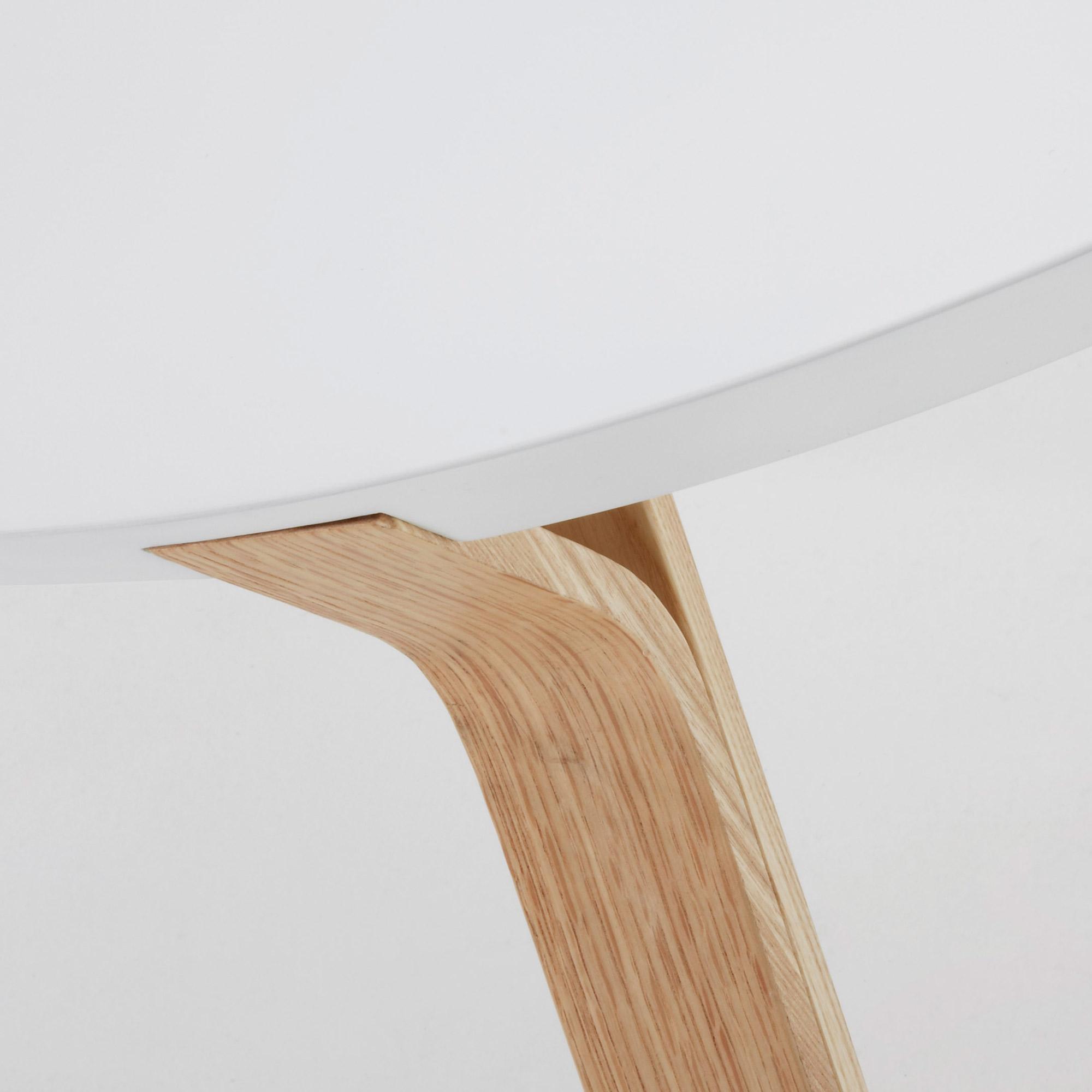 Dilos salontafel wit en es Ø 90 cm