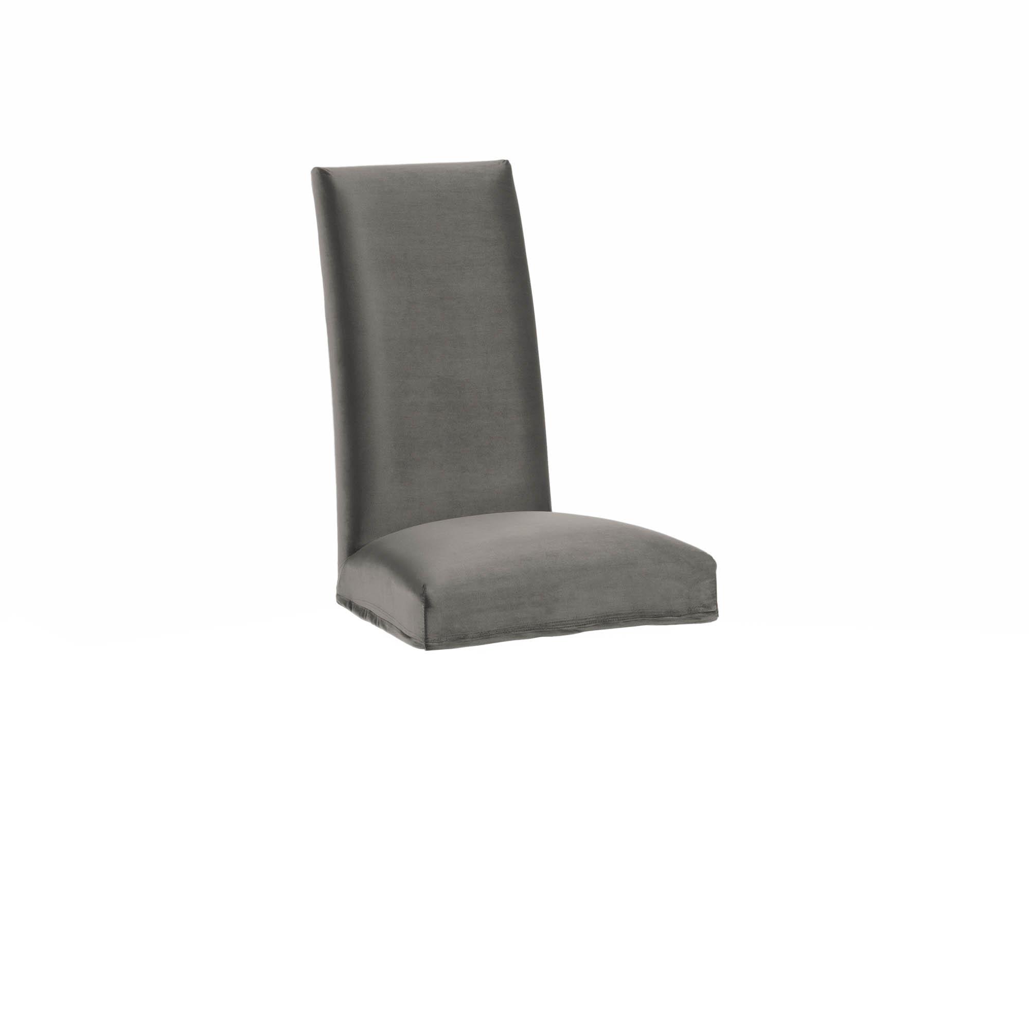 Kave home - housse de chaise freda velours gris