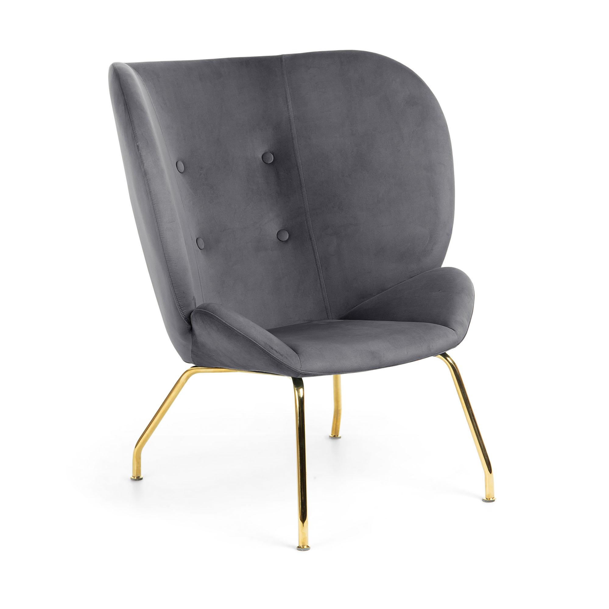 Kave home - fauteuil violet velours gris foncé