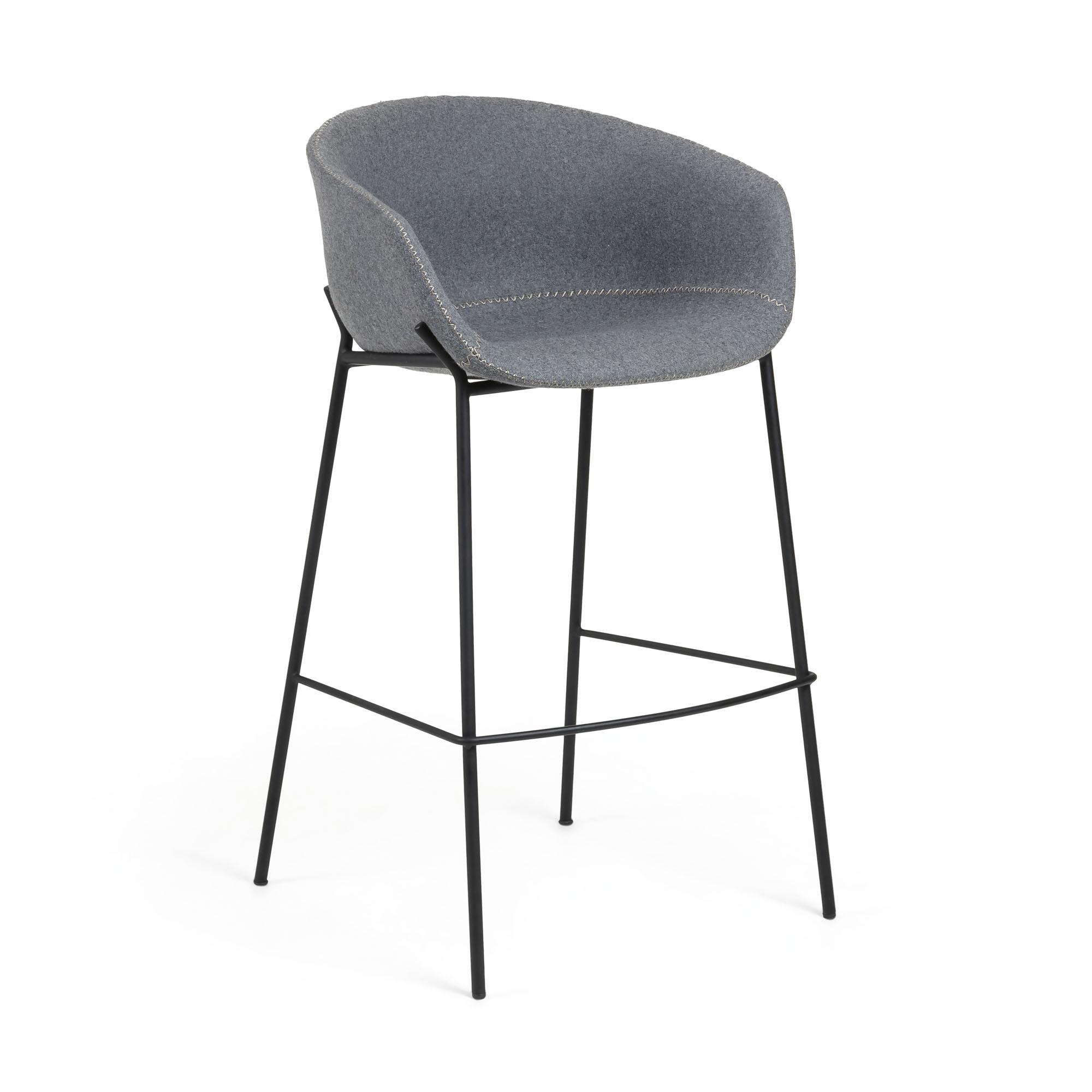 Kave Home - Yvette grauer Barhocker Höhe 74 cm | Küche und Esszimmer > Bar-Möbel > Barhocker | Kave Home