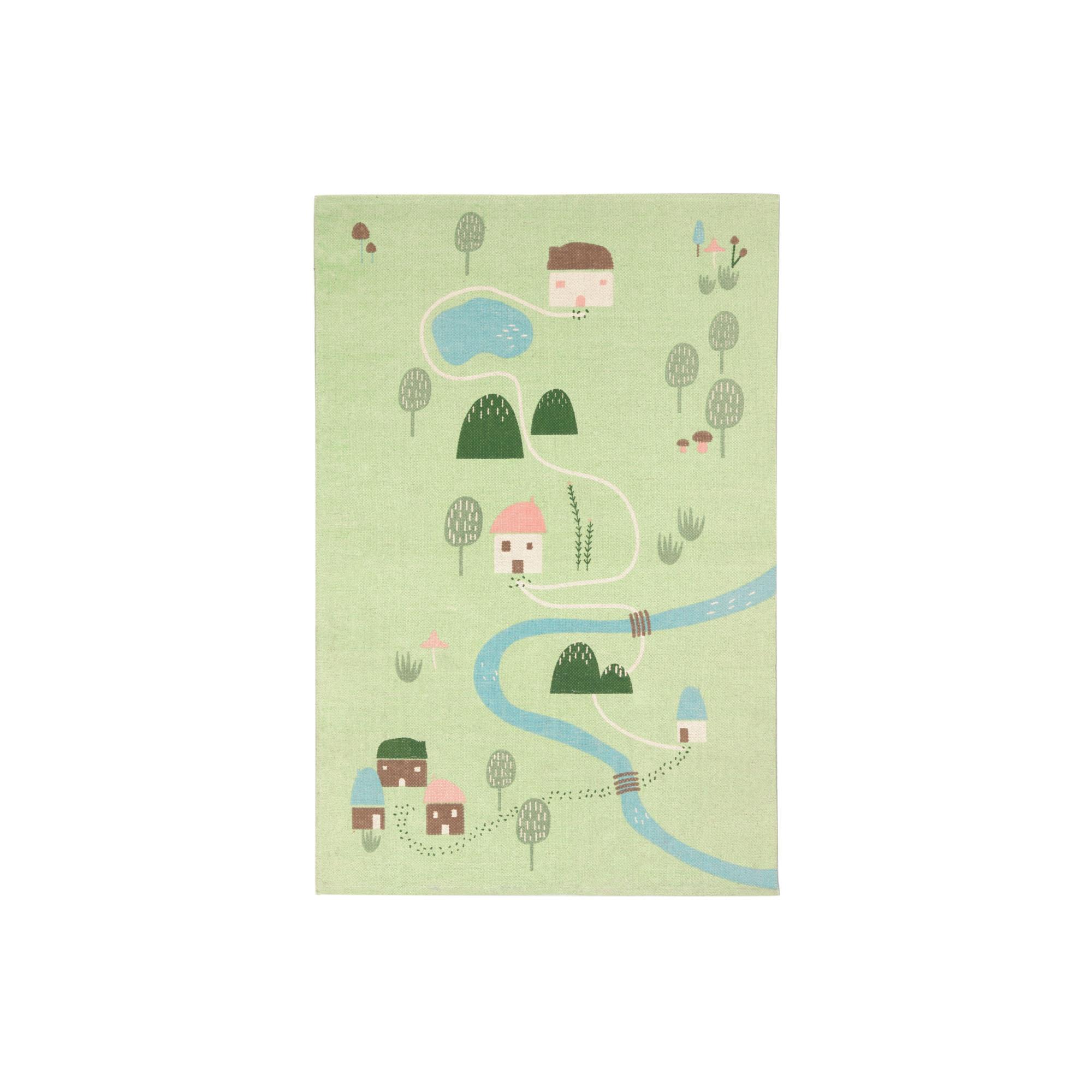 Kave home - tapis llaru 100% coton vert maisons...